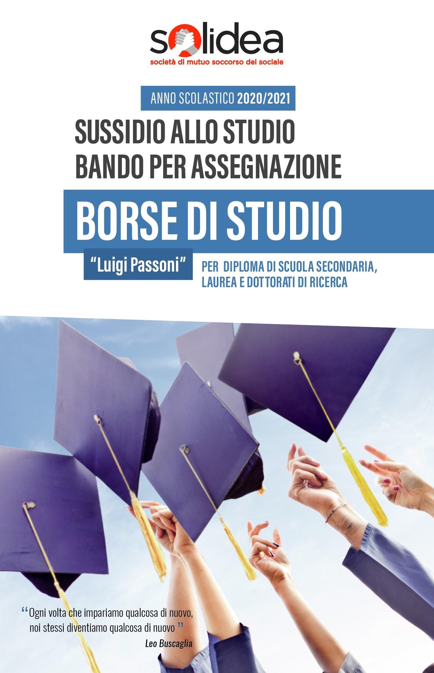 BORSE DI STUDIO SOLIDEA – SUSSIDI ALLO STUDIO –  ANNO SCOLASTICO 2020/2021